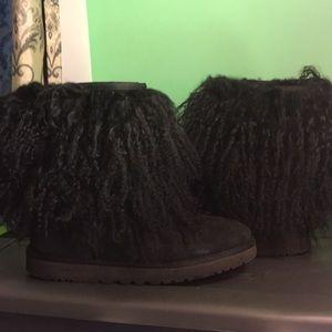 BLACK Mongolian Fur Ugg boots.